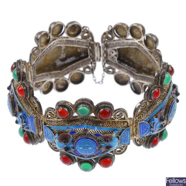 An enamel and paste bracelet.