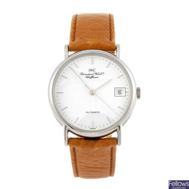 IWC - a gentleman's stainless steel Portofino wrist watch.
