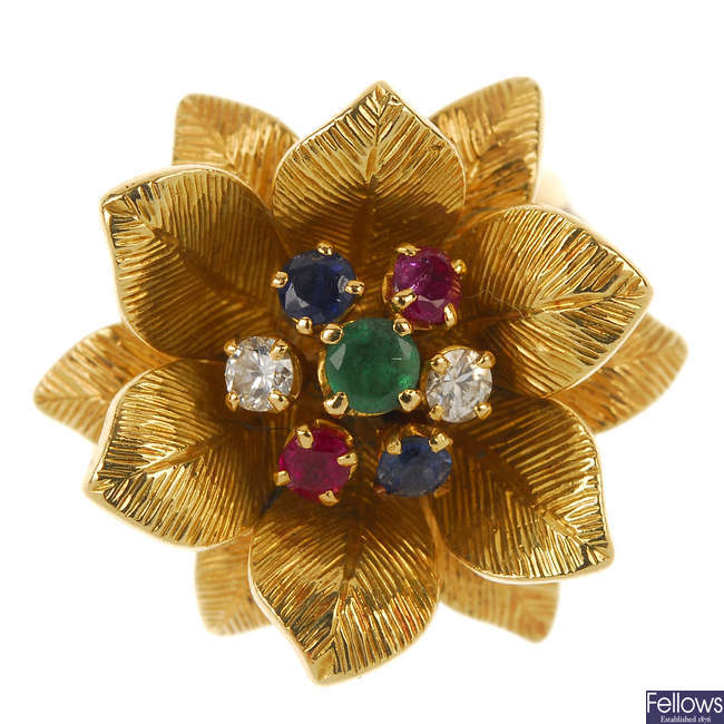 A mid 20th century diamond and multi-gem floral ring.