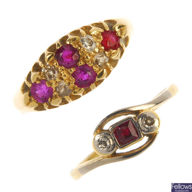 Two early 20th century 18ct gold ruby and diamond rings.