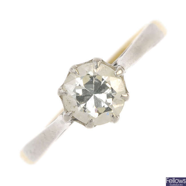 A mid 20th century 18ct gold diamond single-stone ring.