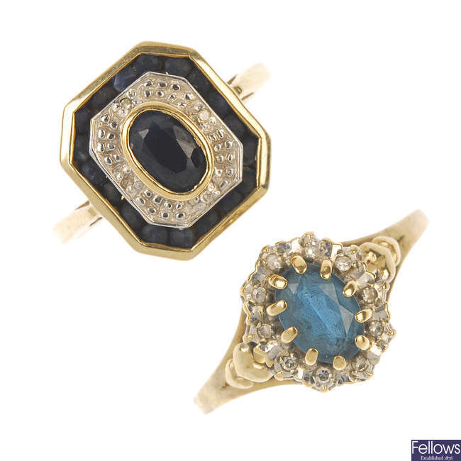 Two 9ct gold diamond and gem-set cluster rings.