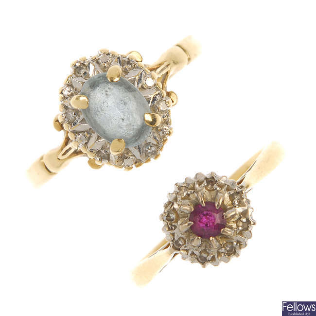 Two gold diamond and gem-set cluster rings.