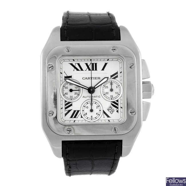 CARTIER - a Santos 100 chronograph wrist watch.