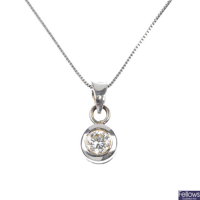 An 18ct gold diamond single-stone necklace.