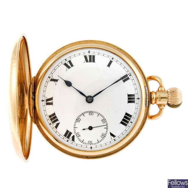 A 9ct gold half hunter pocket watch.