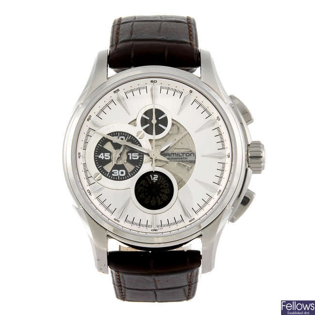 HAMILTON - a gentleman's Jazzmaster Open Secret chronograph wrist watch.