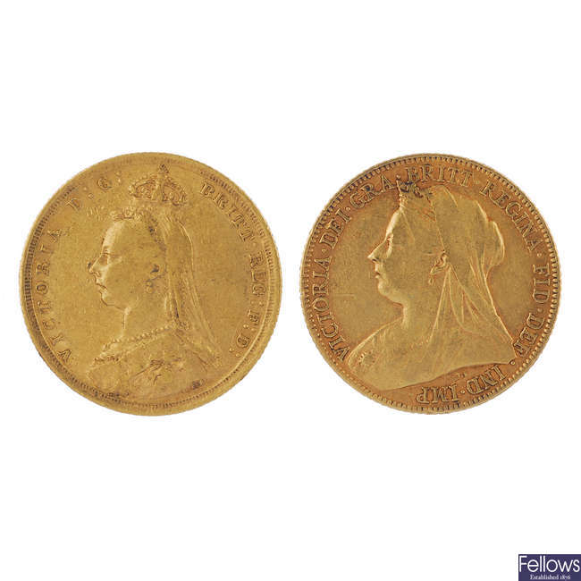 Victoria, Sovereigns (2) 1889S, 1899.