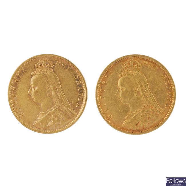 Victoria, Half-Sovereigns (2) 1891, 1892.