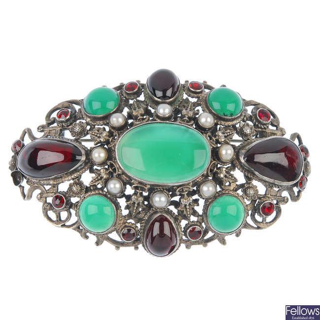An Austro-Hungarian gem-set brooch.