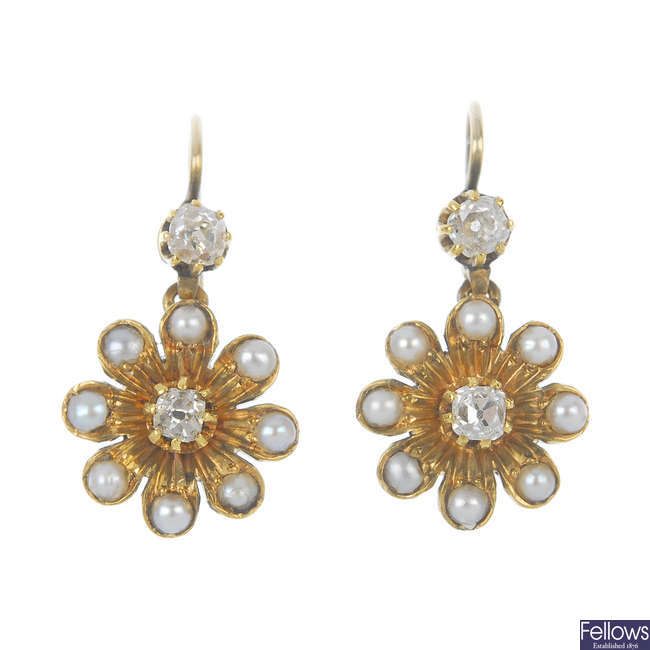 A pair of diamond and split pearl cluster ear pendants.