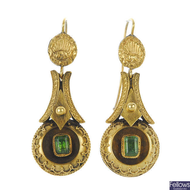 A pair of late 19th century foil-back emerald ear pendants.