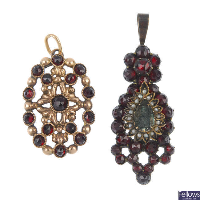 A selection of garnet and red paste jewellery.