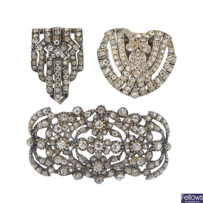 Three items of paste jewellery.