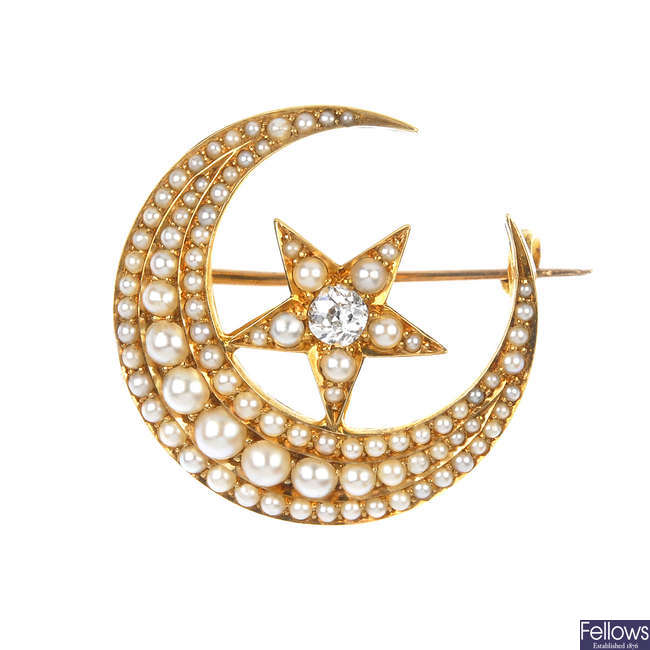 A late 19th century 18ct gold diamond and split pearl star and crescent brooch.