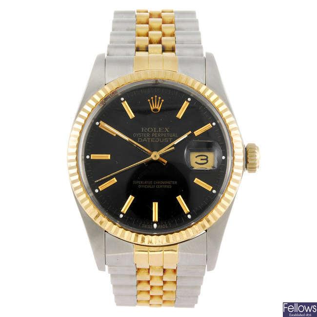 ROLEX - a gentleman's Oyster Perpetual Datejust bracelet watch.