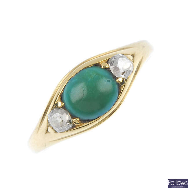 An early 20th century 18ct gold turquoise and diamond three-stone ring.
