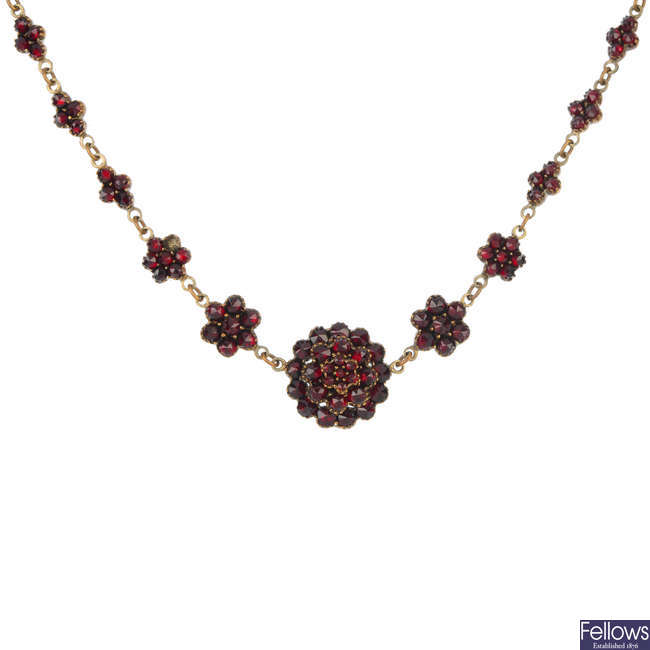 A late 19th century paste necklace.