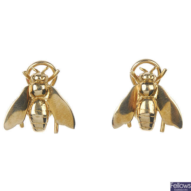 A pair of 9ct gold fly earrings.