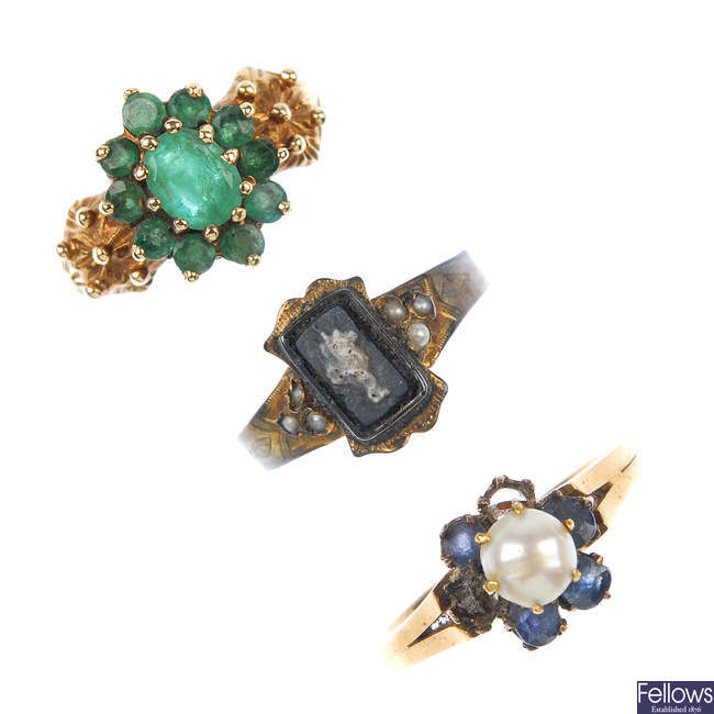 A selection of three gem-set and split pearl rings.