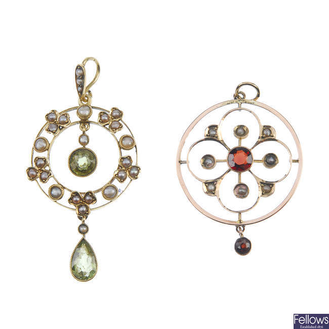 Two early 20th century gold gem-set and split pearl pendants.
