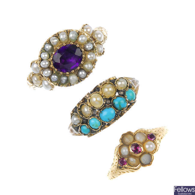A selection of three late 19th century gold gem-set and split pearl rings.