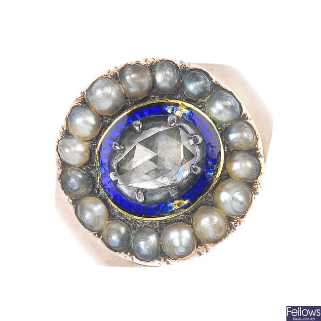 A late 19th century gold diamond, split pearl and enamel ring.
