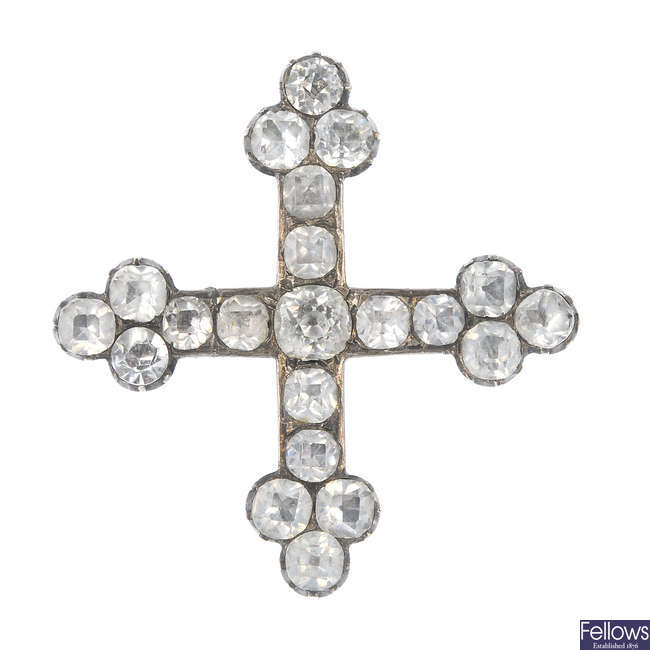 A late 19th century silver foil-back paste cross brooch.