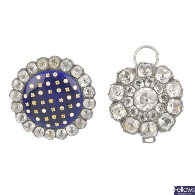 Two late 19th century foil-back paste items of jewellery.