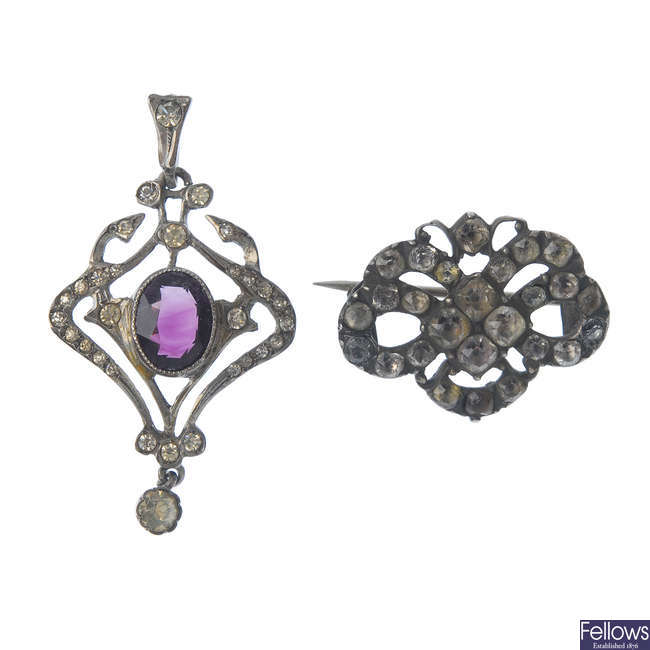 A paste brooch and pendant