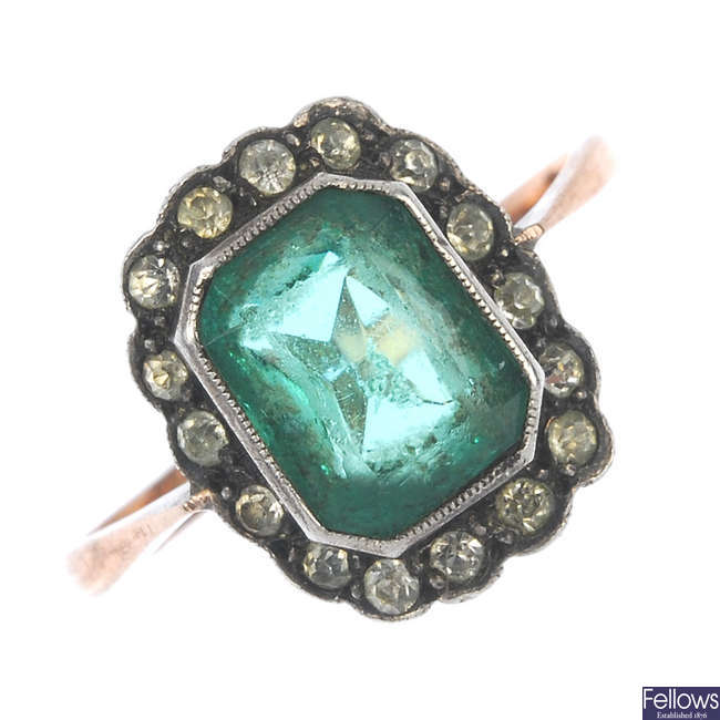 A mid 20th century 9ct gold and silver paste cluster ring.