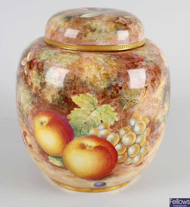 A Royal Worcester bone china jar and cover