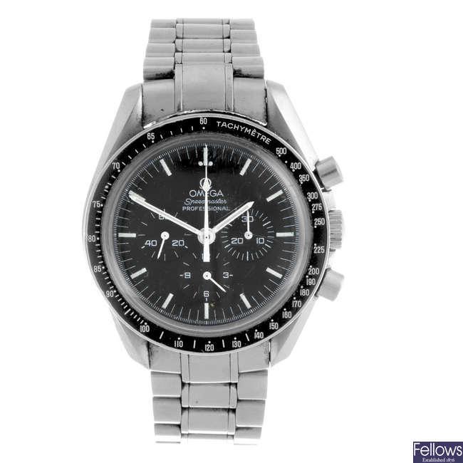 OMEGA - a limited edition gentleman's Speedmaster Apollo 17 bracelet watch.