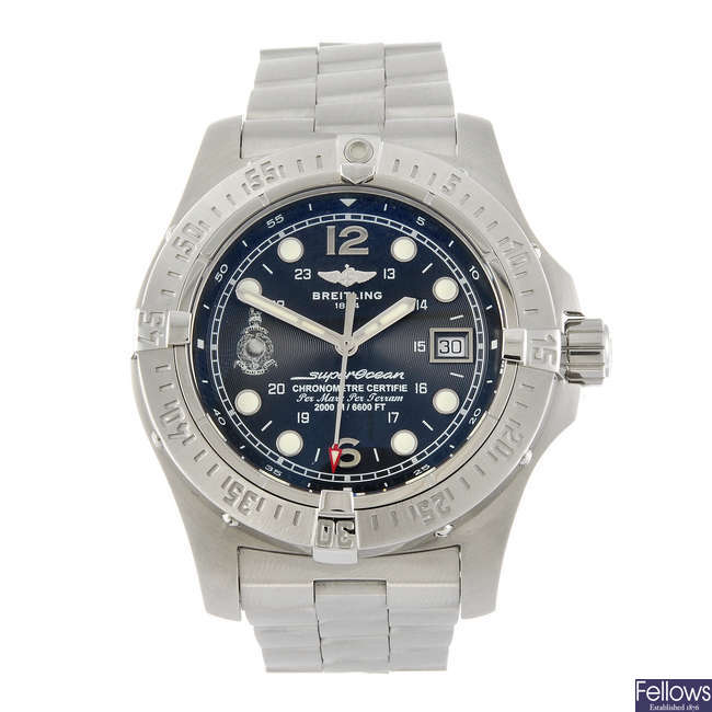 BREITLING - a limited edition gentleman's Superocean Steelfish 'Royal Marines' bracelet watch.