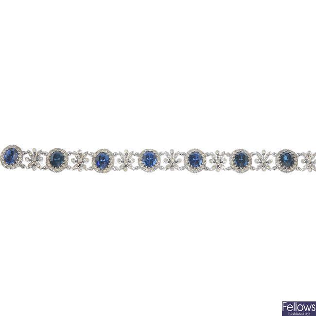 A 1960s silver paste bracelet.