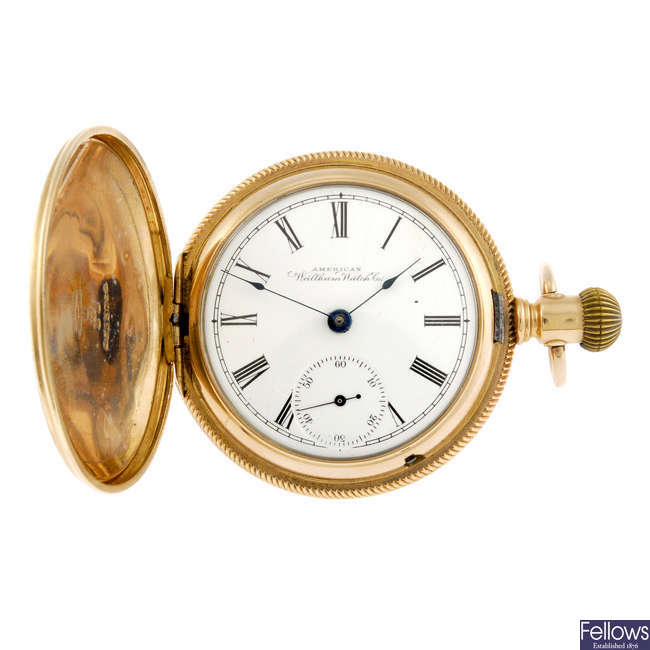 A gold plated full hunter pocket watch by Waltham.