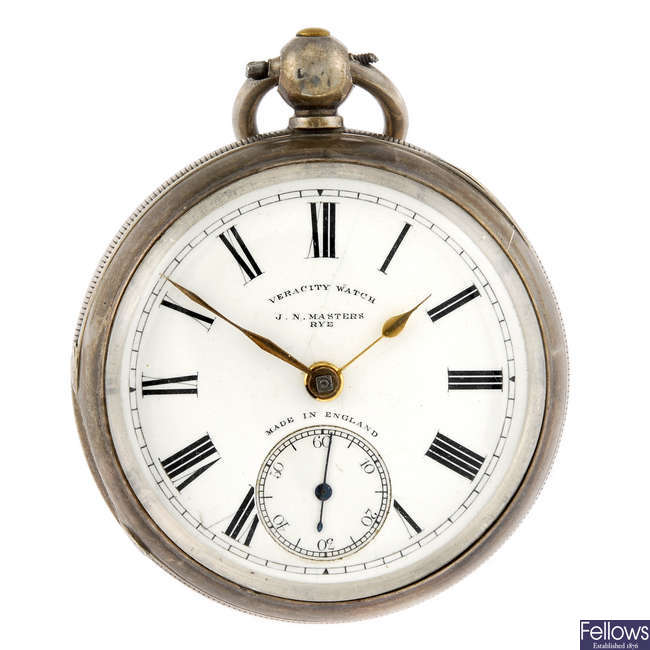 A silver open face pocket watch by J.N. Masters.