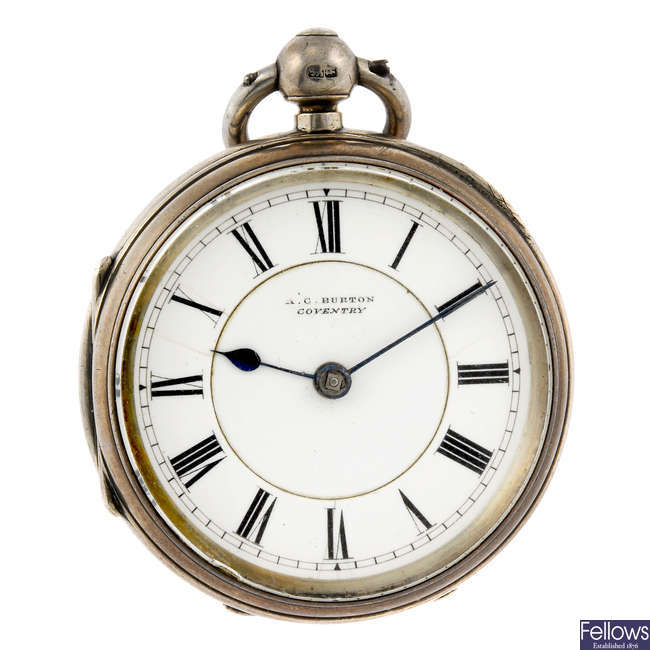 A silver open face pocket watch by A.C Burton.