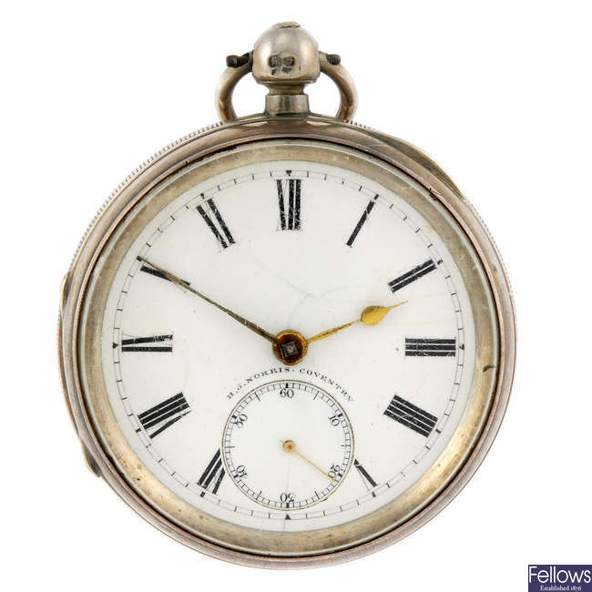 A silver open face pocket watch by H.J Norris.