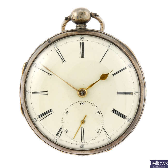 A silver open face pocket watch by Owen Owens.