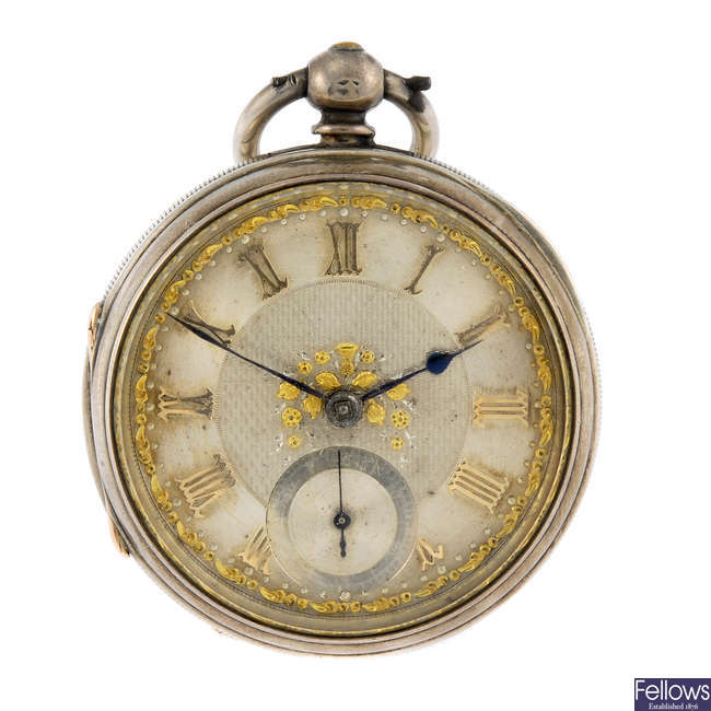 A silver open face pocket watch by Adam Burdess.
