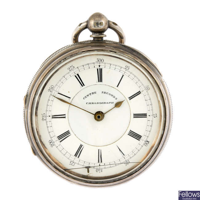 A silver open face centre seconds pocket watch by M.Shaffer.