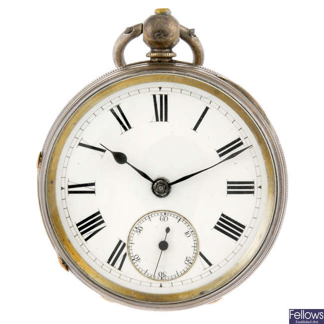 A silver open face pocket watch by Adam Burdess with another silver pocket watch.