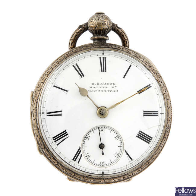A silver open face pocket watch by H. Samuel.