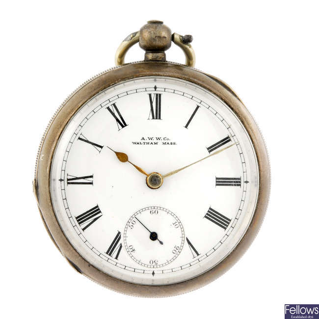 A silver open face pocket watch by American Watch Co.