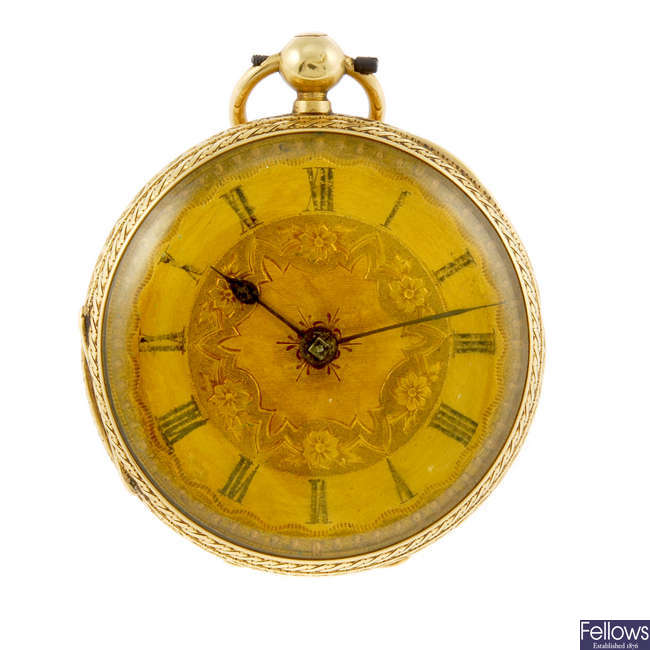An 18ct gold open face pocket watch.