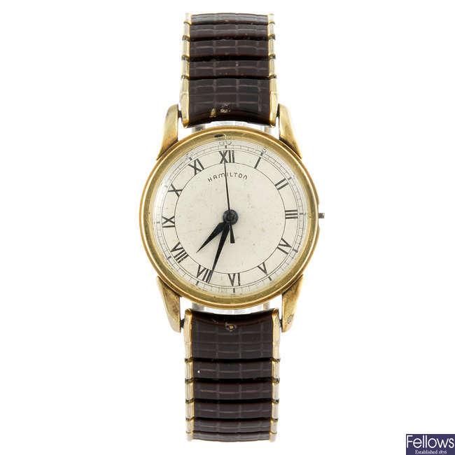 HAMILTON - a gentleman's gold filled bracelet watch.