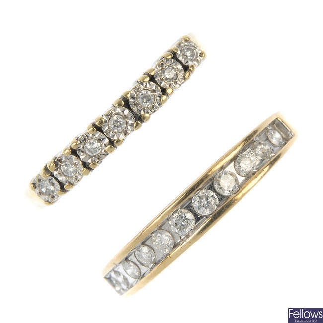 Two 9ct gold diamond half-circle eternity rings.