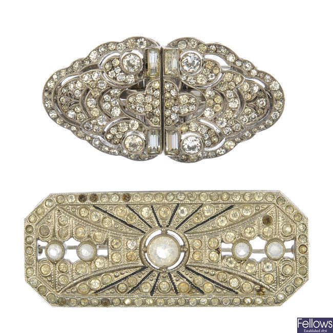 Four items of early 20th century paste jewellery.