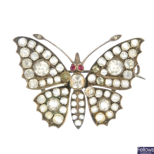 An early 20th century paste butterfly brooch.
